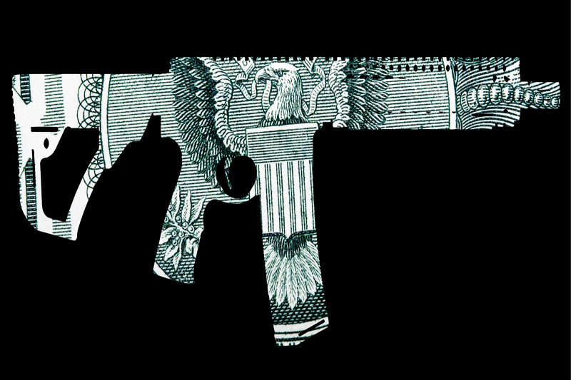 gun colored with US Dollar