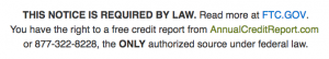 FTC warning about credit reports