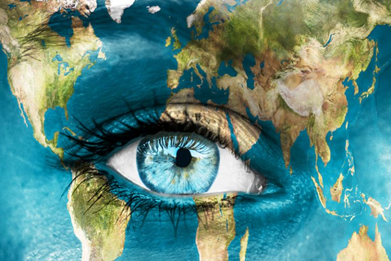 eye in an earth painted face