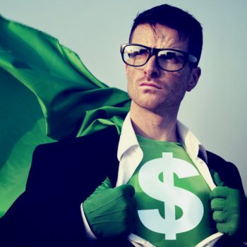 Green Hero with Cape Conquering Debt