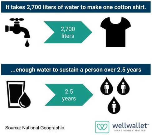 It takes 2,700 liters to make a cotton shirt