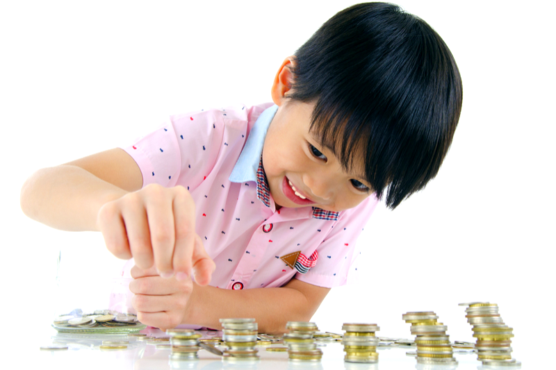 boy counting coins
