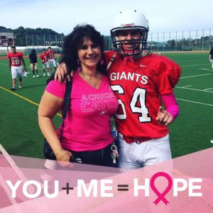 Cancer survivor Eleni Ross and son