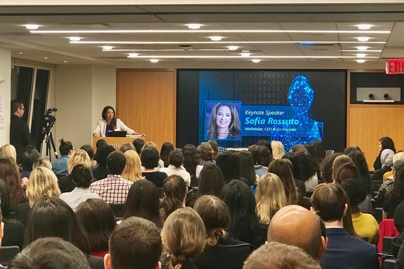 WellWallet founder Sofia Rossato keynote speech at MScience and Women Who Code NYC
